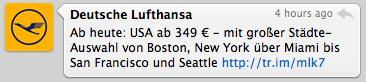 Lufthansa-Tweet