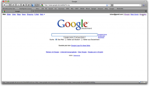 Google.de-Abmeldelink in Firefox 3.5 Preview