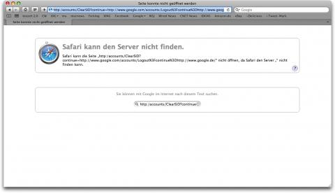 Safari-4-Fehler bei der Google.de-Abmeldung