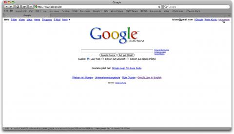 Defekter Google.de-Abmelde-Link in Safari 4
