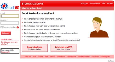 StudiVZ Startseite Screenshot