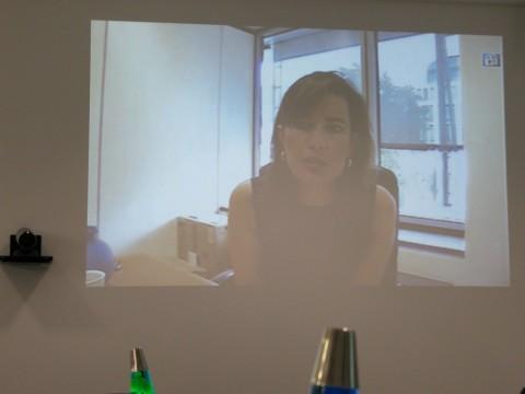 Annette Kroeber-Riel, Google-Lobbyistin in Berlin (European Policy Counsel DACH), live zugeschaltet per Videokonferenz