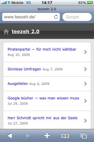 teezeh 2.0 auf dem iPhone