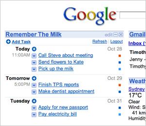 RTM in iGoogle