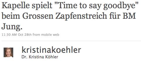 Tweet von Köhler über Jung vom Oktober 2009