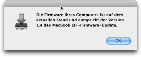 MacBook EFI Firmware Update 1.4 Bestätigung