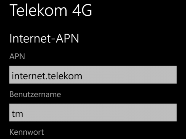 APN-Einstellungen für Telekom-LTE Lumia 920