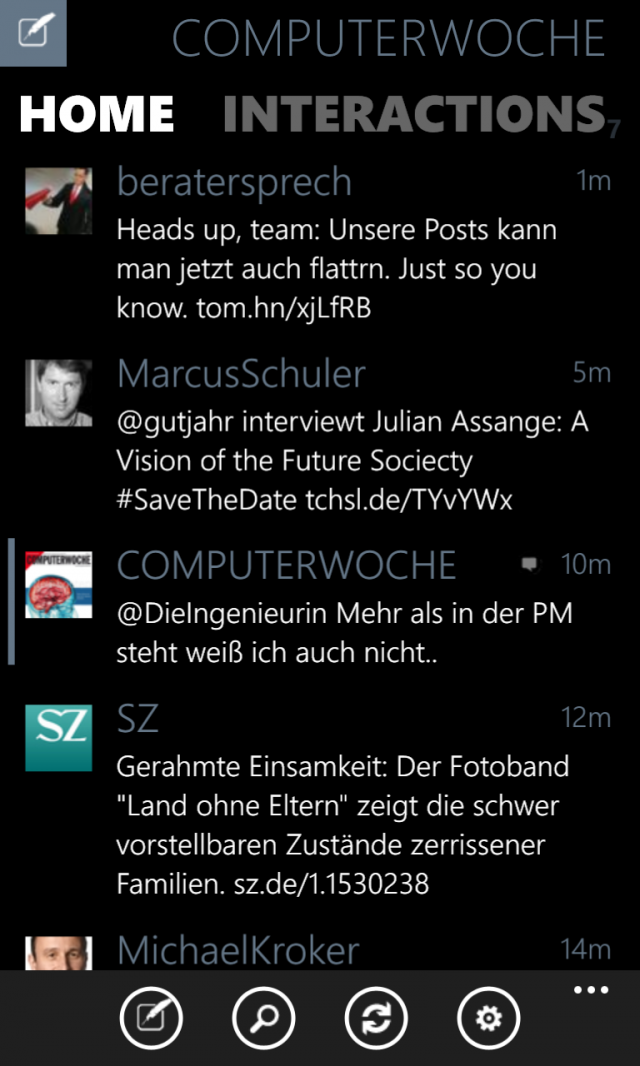 Twabbit für WP8 Beta Screenshot Timeline