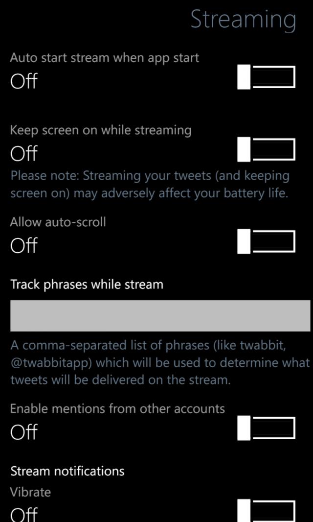 Twabbit für WP8 Einstellungen Streaming