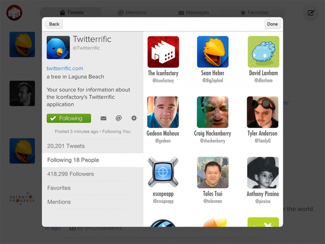 Twitterrific 5.0 Screenshot Nutzerprofil iPad