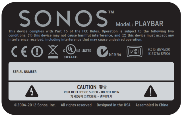 Sonos Playbar FCC Label