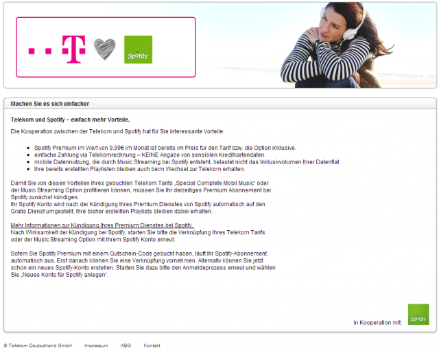 Telekom-Spotify Infoseite Screenshot