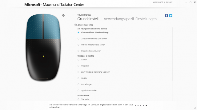 Maus- und Tastatur-Center Screenshot