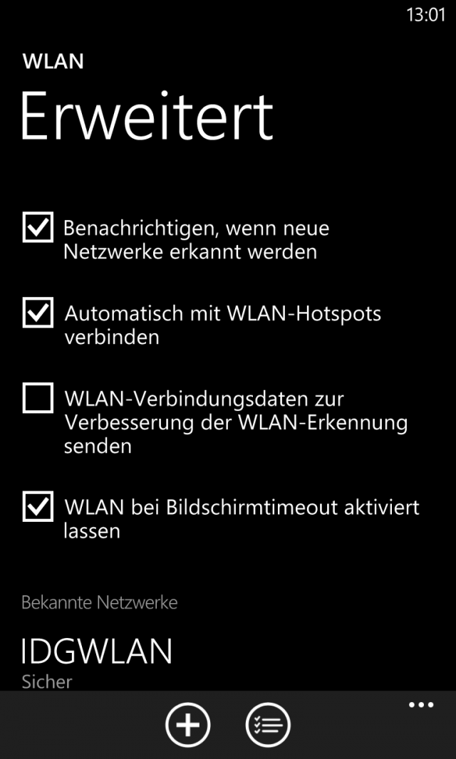 Lumia 920 Einstellungen WLAN Erweitert