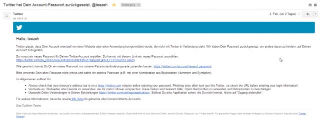Twitter-Email zum Passwort-Reset