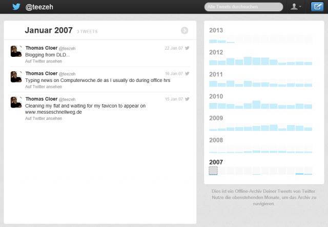 Twitter Offline-Archiv Screenshot
