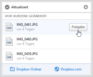 Dropbox 2.0 Menü