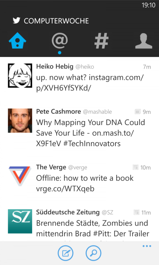 Twitter für Windows Phone Screenshot