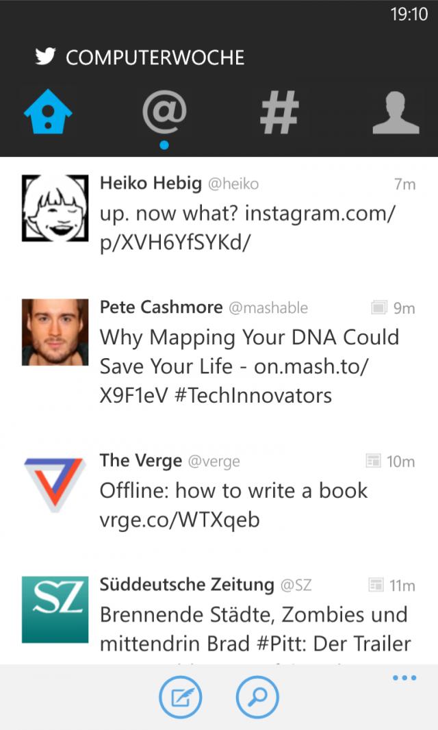 Twitter für Windows Phone Screenshot