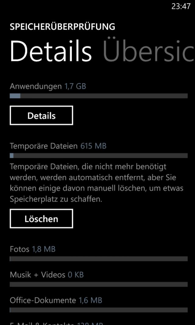 Lumia 920 Speicherüberprüfung Details Screenshot