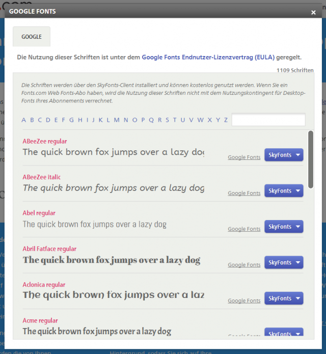 fonts.com Google Fonts Auswahl Screenshot
