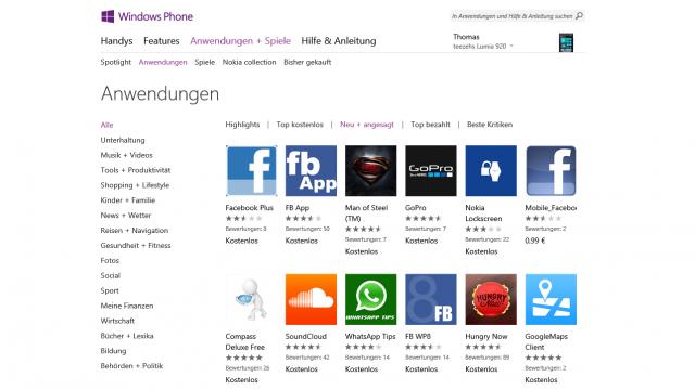 Windows Phone Store Screeenshot