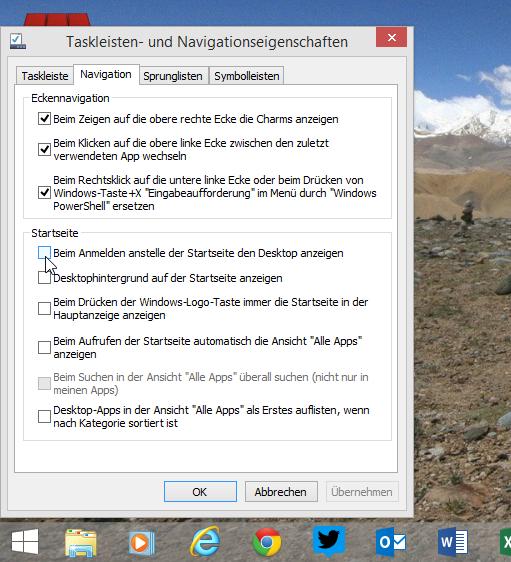 Windows 8.1 Eigenschaften der Taskleiste