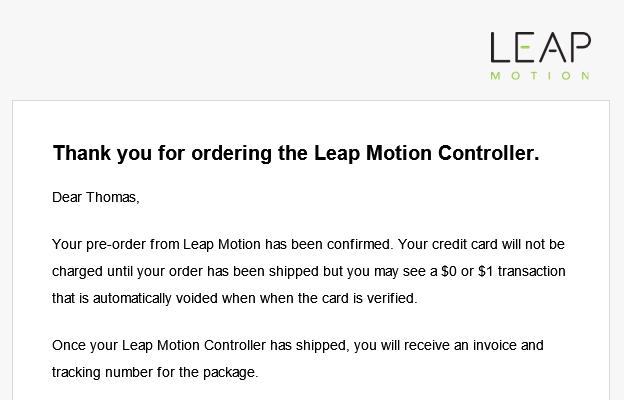Leap Motion Bestellbestätigung