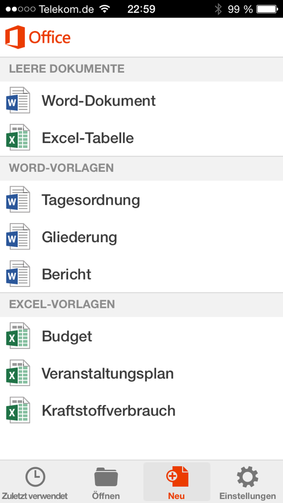 Office Mobile auf dem iPhone Screenshot