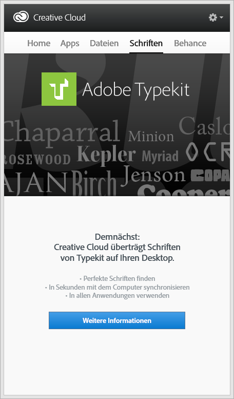 Typekit sync is yet to come