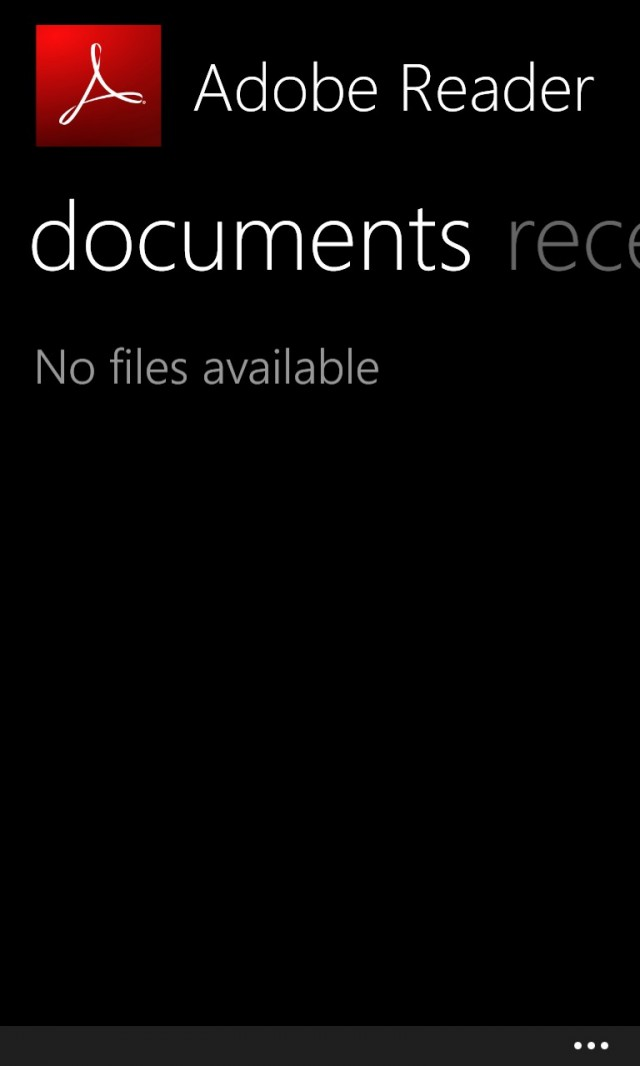 Adobe Reader WP8 Screenshot