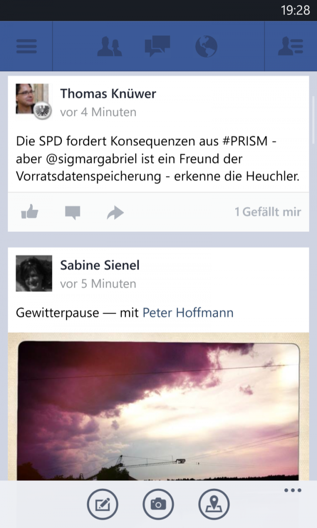 Facebook für Windows Phone Neuigkeiten Screenshot