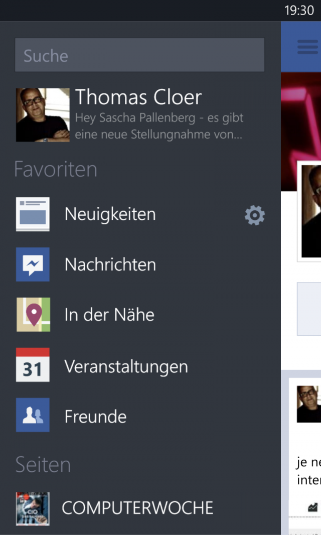 Facebook für Windows Phone Menü Screenshot