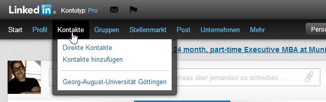LinkedIn Menü Kontakte