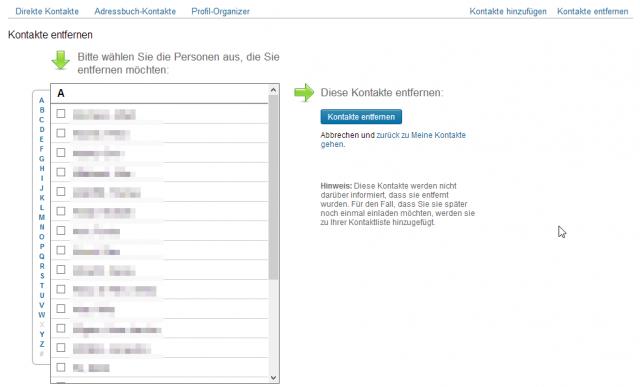 LinkedIn Kontakte entfernen Auswahlbildschirm