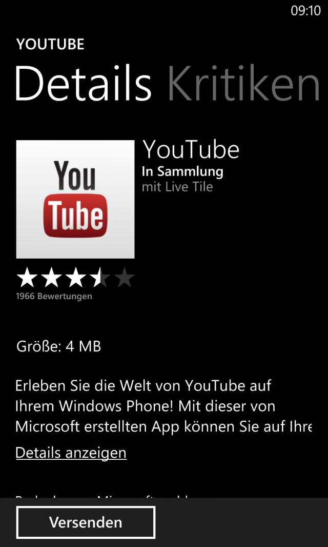 Youtube für Windows Phone