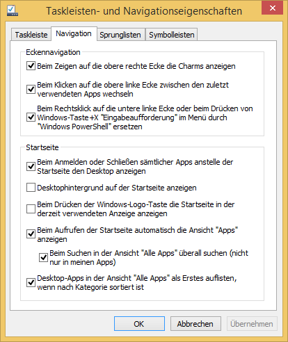Windows 8 Taskleiste Eigenschaften Navigation