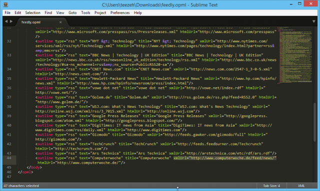 feedly.opml in Sublime Text