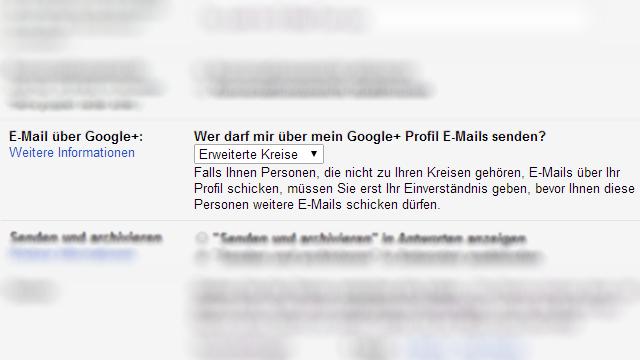 Gmail E-Mail über Google+ Einstellungen