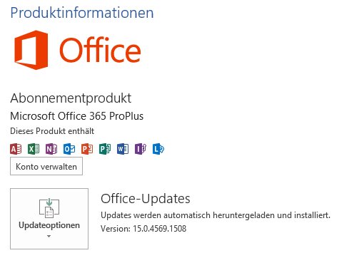 Office 365 Produktinformationen