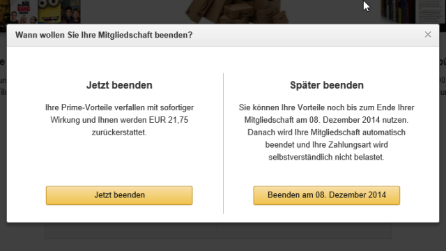 Amazon Prime: Jetzt beenden