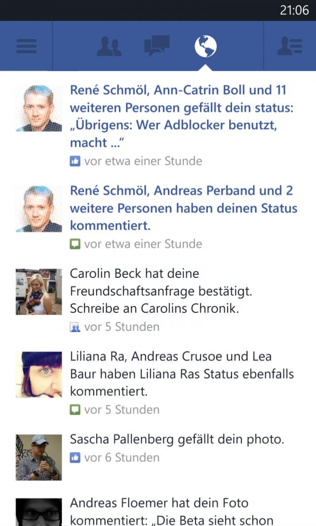 Facebook für Windows Phone Benachrichtigungen
