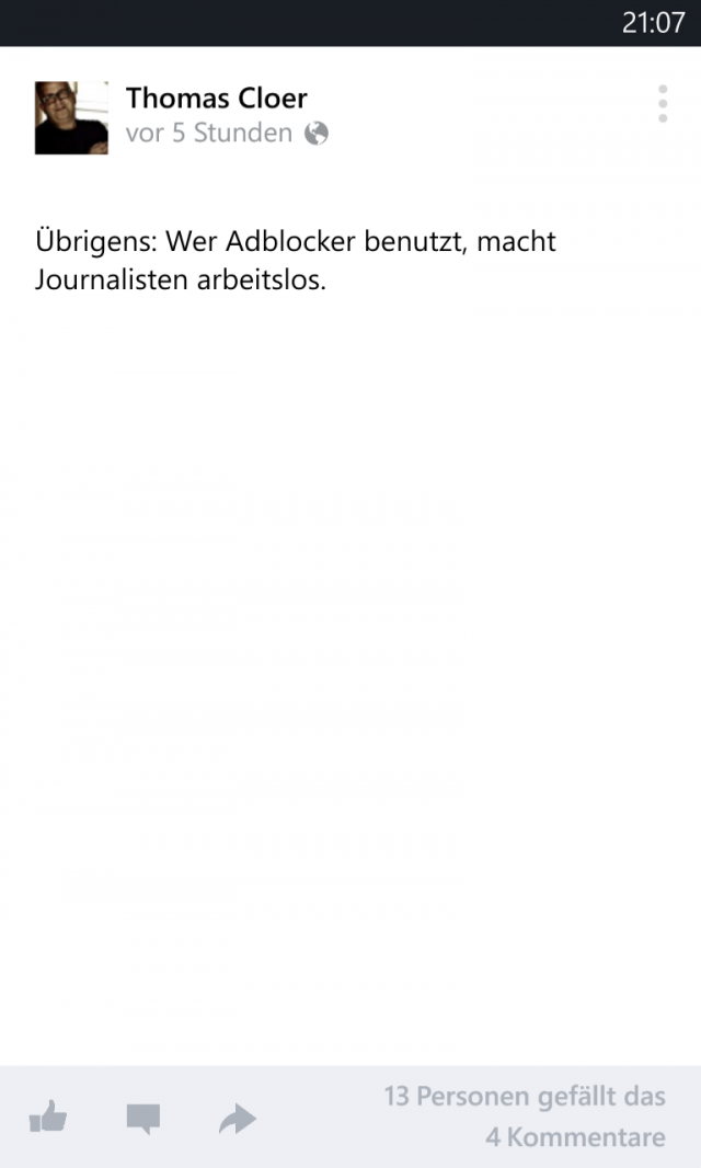 Facebook für Windows Phone, Post ohne Kommentare