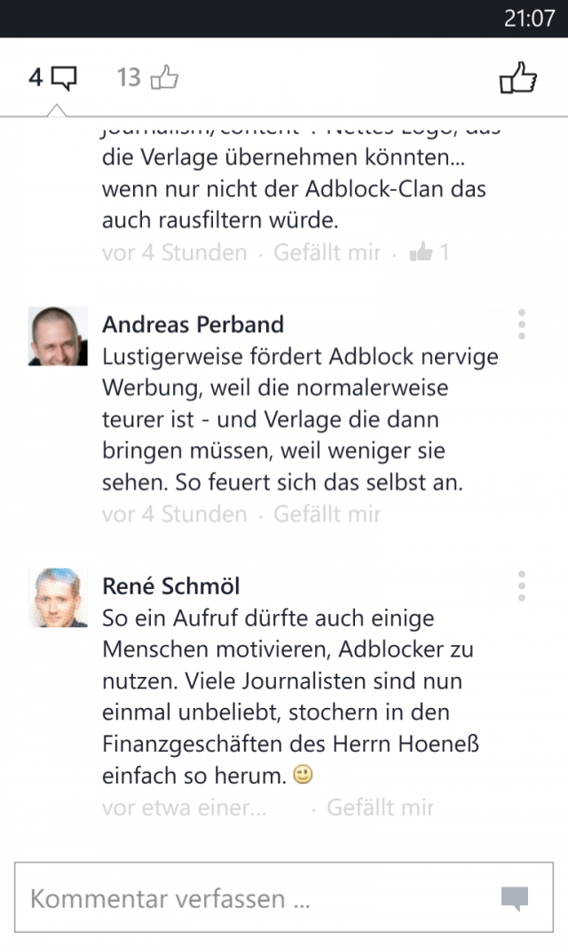 Facebook für Windows Phone, Kommentare ohne Post