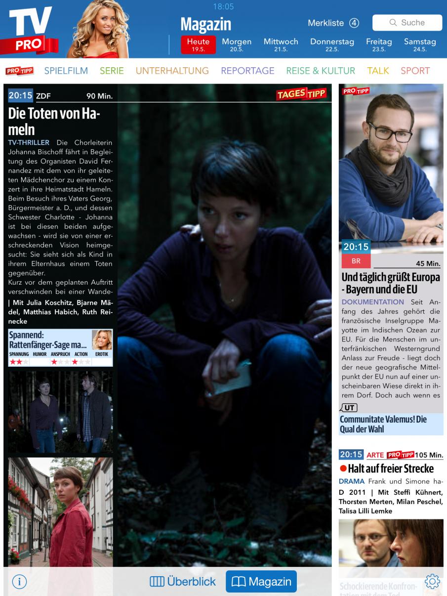TV Pro 2 in der Magazinansicht