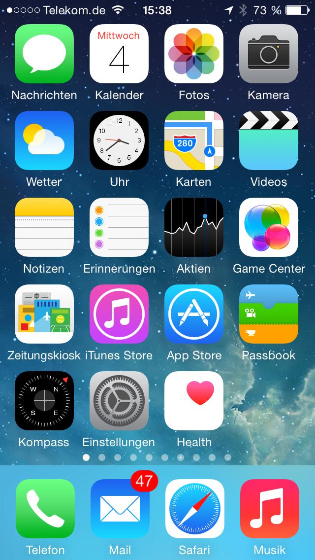 Home-Bildschirm 5s 8.0b1