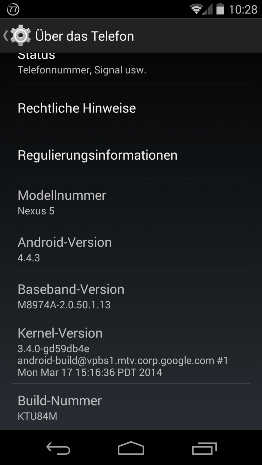 Nexus 5 Einstellungen Über das Telefon Screenshot
