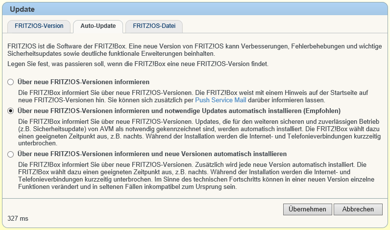 Fritz!Box Fritz!OS Auto-Update Einstellungen