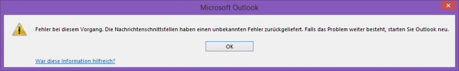 Outlook Fehlermeldung Screenshot