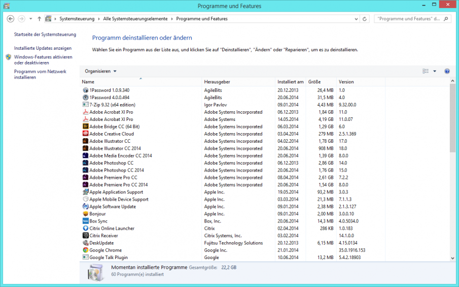 Systemsteuerung Büro Screenshot
